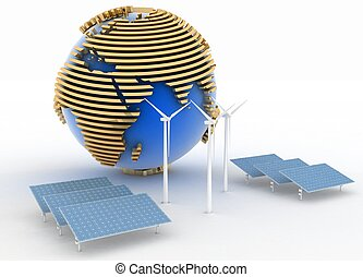 Globe with Windmill and Solar Panels on white background....