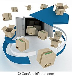3d cardboard boxes around  container on white background. Worldwide shipping concept.