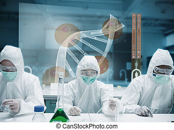 Scientists working in the lab with futuristic interface...