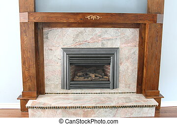 Gas fireplace with wood trim - Gas fireplace with granite...