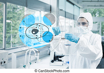 Scientist in protective suit working with cell diagram...
