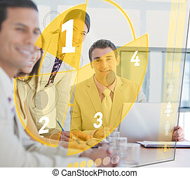 Business people using pie chart int