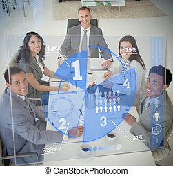 Business people using blue pie chart interface