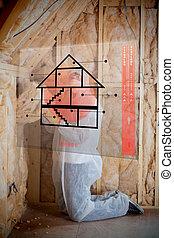 uomo, isolante, pareti, seguente, istruzioni, interfaccia
