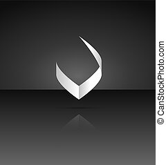 Victory sign - Isolated V symbol with shadow and subtle...