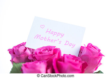 Bouquet of pink roses with happy mothers day card - Bouquet...