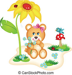 Teddy bear picking flowers - Scalable vectorial image...