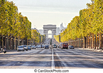 The Champs-Elysees and the Arc de Triomphe in Paris, France...