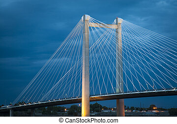 Modern cable bridge over the Columbia River in Washington...
