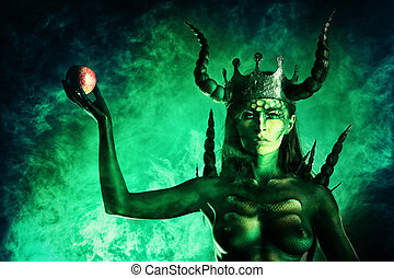 apple of knowledge - Beautiful and scary devil woman. Art...