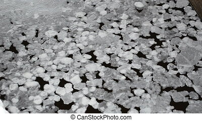 ice floe water surface - thin ice parts floe float on water...