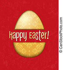 Vector easter egg card - Vector card with golden easter egg...