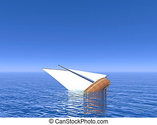Sinking boat - 3D render - Small sailing boat sinking in...