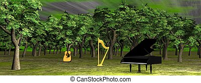 Music in the woods - 3D render - A piano, a guitar and a...