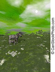 Mother and baby zebras in grassland - 3D render - Mother and...
