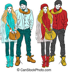 Vector fashion stylish guy and girl in warm clothes - set...