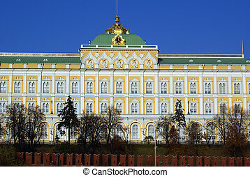 Kremlin palace - White Big Kremlin palace in Moscow, Russia...