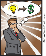 business concept - A illustration of a businessman thinking...