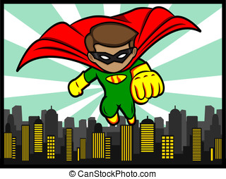 little superhero flying - a cartoon illustration of a flying...