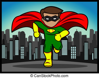 little superhero running - A cartoon of a running little...