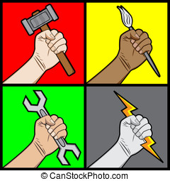 raised fists holding tools - A cartoon illustration of a...