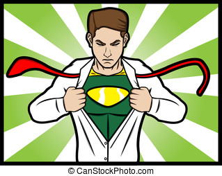 superhero transformation - A cartoon comic style of a man...