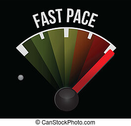 fast pace speedometer illustration design over a white...