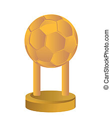 Gold Trophy Cup football soccer on a white background