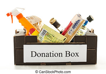 Black cardboard donation box with houseware product and food...