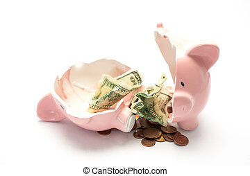 Piggy bank broken with money inside on white background