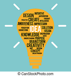 Idea Concept - Vector illustration of a lightbulb with idea...