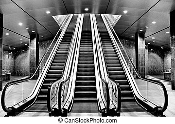 Escalator - Metro station Serdika 2 - Sofia, Bulgaria