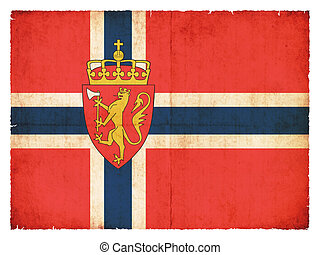 Grunge flag of Norway with Coat of Arms