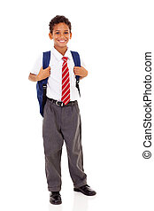 male elementary school student with backpack isolated on...
