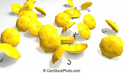 Umbrellas blown away.
