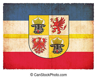 Grunge flag of Mecklenburg-Western Pomerania (Germany) -...