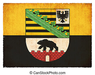 Grunge flag of Saxony-Anhalt Germany - Flag of the German...