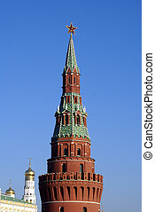 Brick tower - Red brick tower with star and Kremlin, Russia...