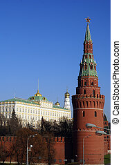 Red brick tower in Moscow - Red brick tower on the corner of...