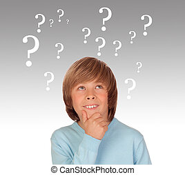Doubtful preteen boy with many question symbols