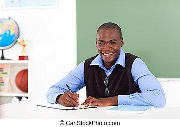 norteamericano, macho, profesor, africano, escuela