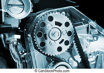 Car Engine - Car engine close up. Focus on front gear