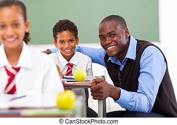 africano, elemental, escuela, profesor