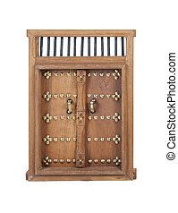 Wooden Castle Door with Brass Details - Wooden castle...