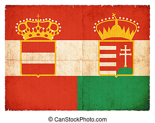 Historic grunge flag of the Austro-Hungarian Monarchy -...