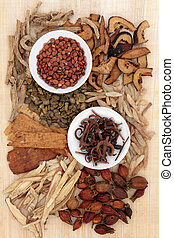 Herbal Medicine - Chinese herbal medicine loose and in white...