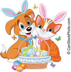 Easter Cat and Dog - Cat and dog near pretty Easter basket...
