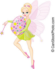 Fairy flying with Easter egg - Cute Fairy flying with Easter...
