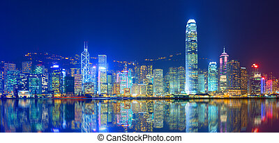 Victoria Harbor - Hong Kong Island from Kowloon.