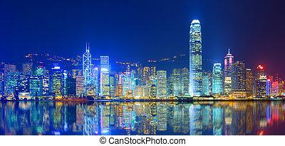 Victoria Harbor - Hong Kong Island from Kowloon.